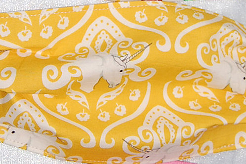 Yellow Unicorn pleated child face covering