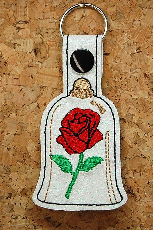 Beauty Rose Jar snap tab key fob