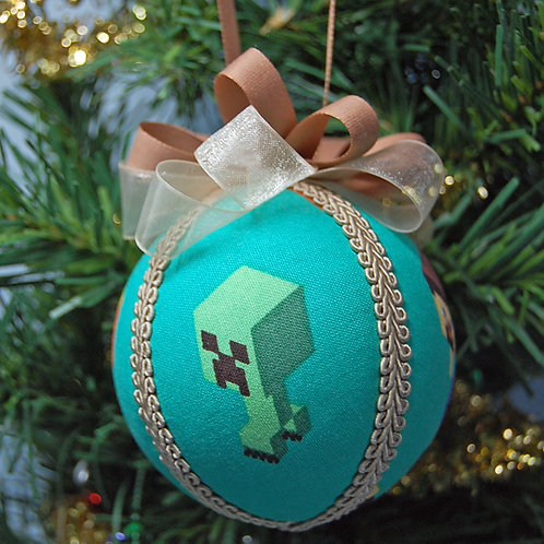 """Mining video game ornament - 3"""" (made from Licensed cotton print fabric)"""