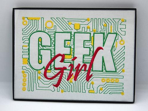 """Geek Girl"" 6 x 8"" framed embroidered art"