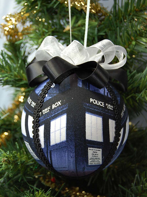 """Ornament made with licensed Dr. Who Tardis fabric/styrofoam ball - 4"""""""
