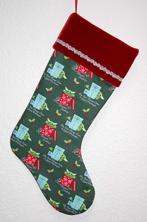 Stocking made with licensed Star Wars/Mandalorian cotton fabric/red velvet cuff