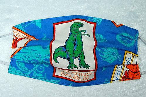 Tyranno-saurus Rex child face covering (w/adjustable elastic straps)