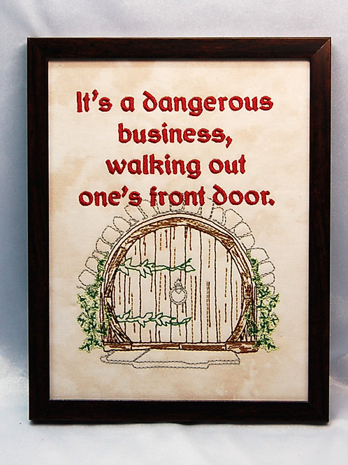"""""""It's a Dangerous business..."""" - 7 x 9"""" framed embroidered art"""