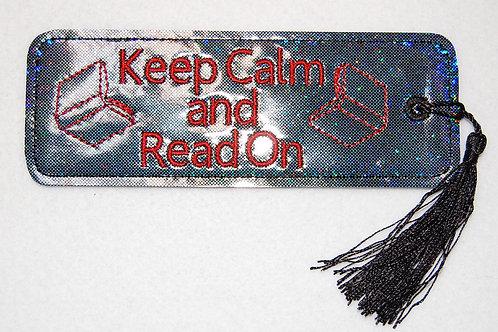 Keep Calm (grey hologram) embroidered bookmark
