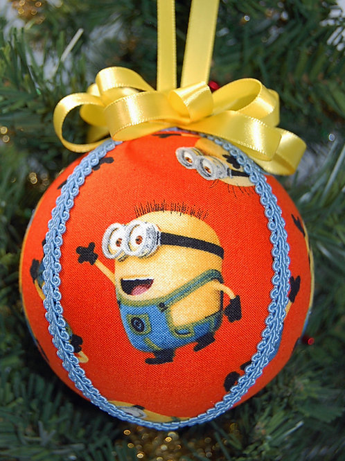"""Minions ornament-orange - 4"""" (made from Licensed cotton print fabric)"""