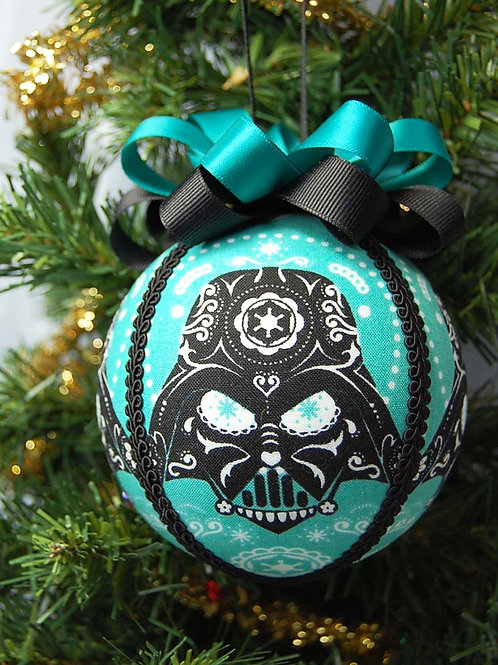 """Ornament made with licensed Star Wars/Darth cotton fabric/styrofoam ball - 4"""""""