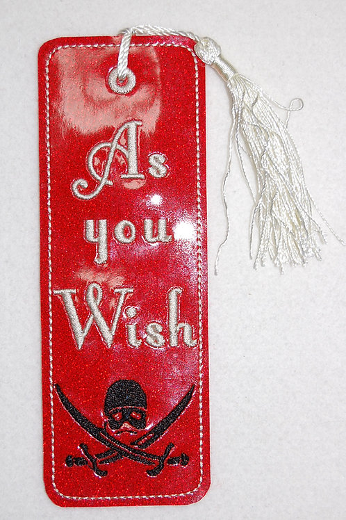 As You Wish/Pirate embroidered bookmark