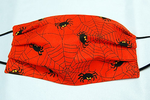 Spiders/Web orange child face covering - 3 layers/adjustable ear loops
