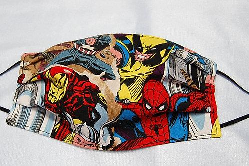 Superhero child face covering (adjustable elastic)