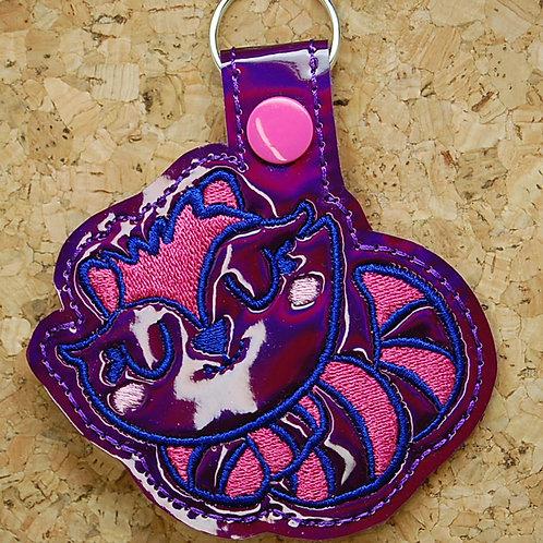 Cheshire Cat snap tab key fob - purple