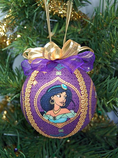 "Ornament made with licensed Jasmine/Tiger/Monkey fabric/styrofoam ball - 3"""