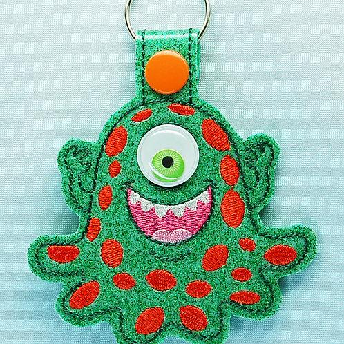 Monster googly eye snap tab key fob - green/green