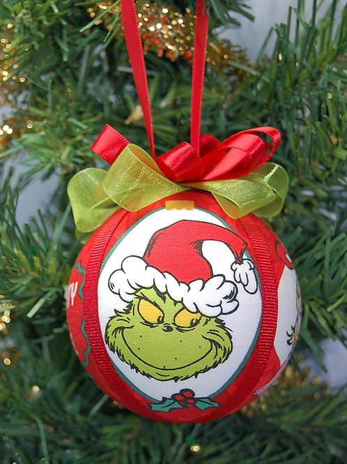 """Ornament made with licensed Grinch (& friends) fabric/styrofoam ball - 3"""""""