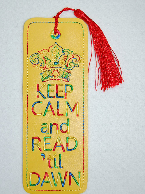 Keep Calm (yellow) embroidered bookmark