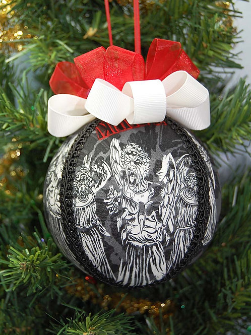 """Ornament made with licensed Dr. Who/Angels fabric/styrofoam ball - 4"""""""