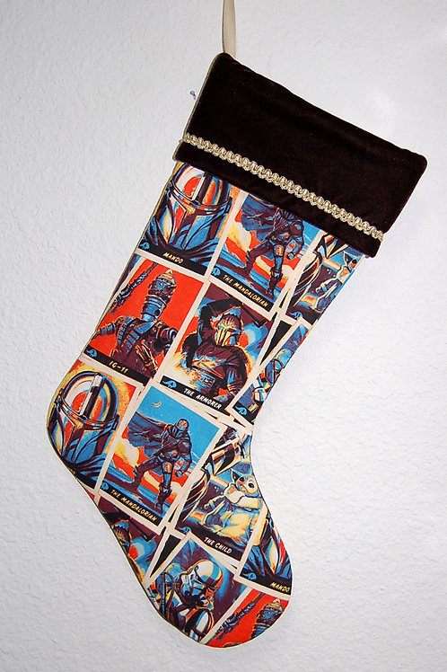Star Wars Christmas stocking-brown-made w/Licensed cotton print fabric