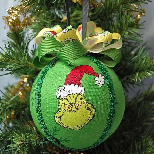 """Ornament made with licensed Grinch (green) cotton fabric/styrofoam ball - 4"""""""
