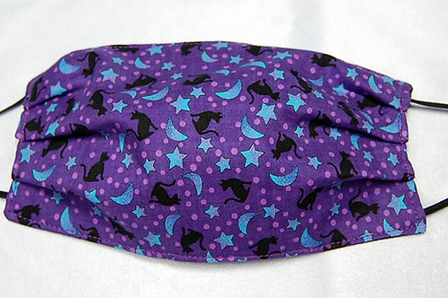 Cats/Stars/Moons child face covering - 3 layer/adjustable ear loops