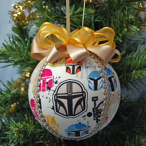 "Ornament made with licensed Star Wars/Mandalorian fabric/styrofoam ball - 4"""