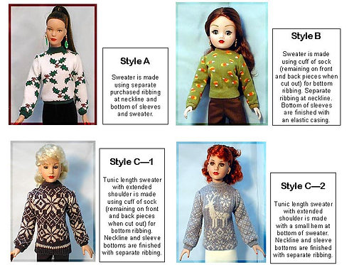 "P1023-Sock Sweater Pattern for 16"", 18"" & 21"" fashion dolls"