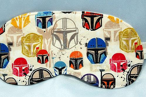 Sleep Mask made with licensed Star Wars Mandalorian Helmets cotton fabric