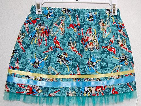 Girl Power (superheros) skirt (made from Licensed cotton print fabric)