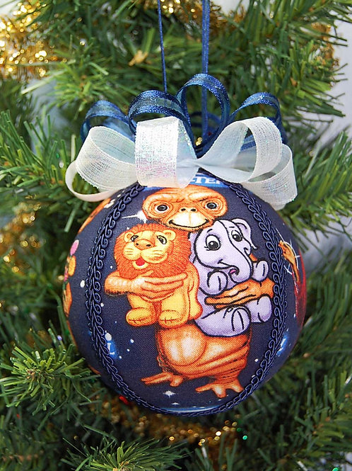 """Ornament made with licensed E.T. fabric/styrofoam ball - 4"""""""