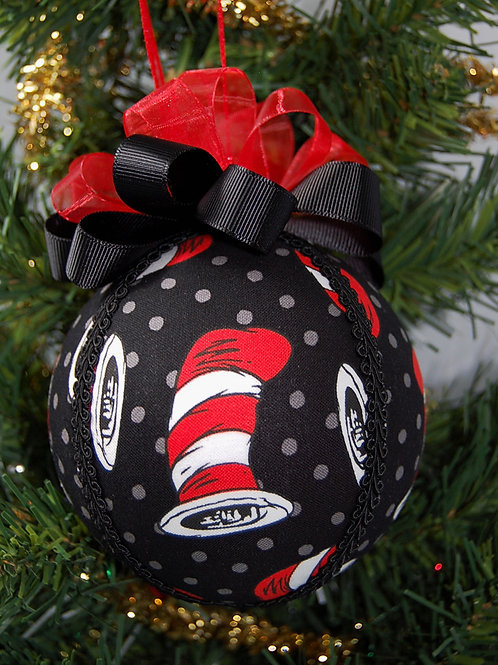 """Ornament made with licensed Cat in the Hat fabric/styrofoam ball - 4"""""""