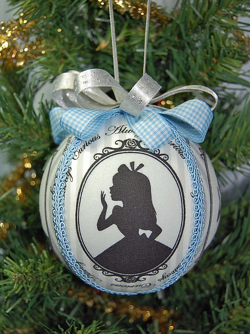 """Ornament made with licensed Alice in Wonderland fabric/styrofoam ball - 4"""""""