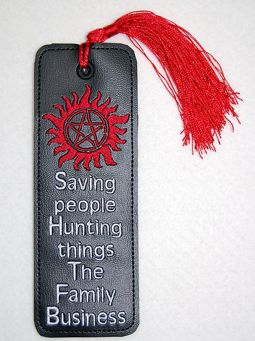 Saving People/Family Business embroidered bookmark