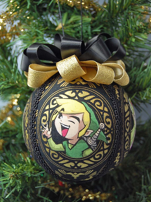"""Ornament made with licensed Legend of Zelda fabric/styrofoam ball - 4"""""""