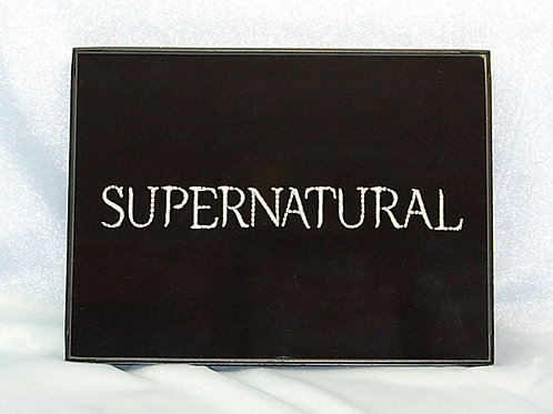 """""""Supernatural"""" title - 6 x 8"""" framed embroidered art"""