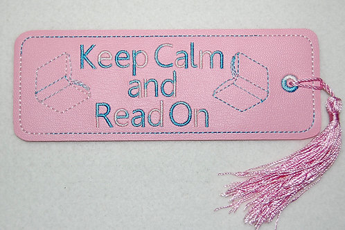 Keep Calm (pink) embroidered bookmark