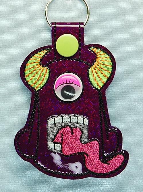 Monster snap tab key fob - purple/pink