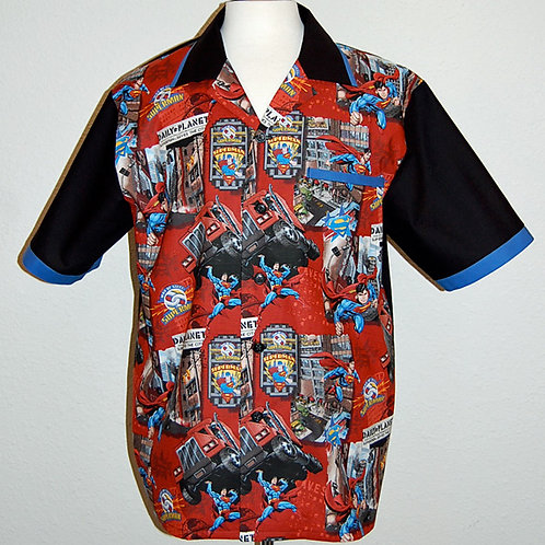 Shirt made with licensed Superman cotton print fabric