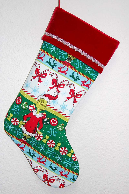 Stocking made with licensed Grinch (Santa) cotton fabric/red velvet cuff