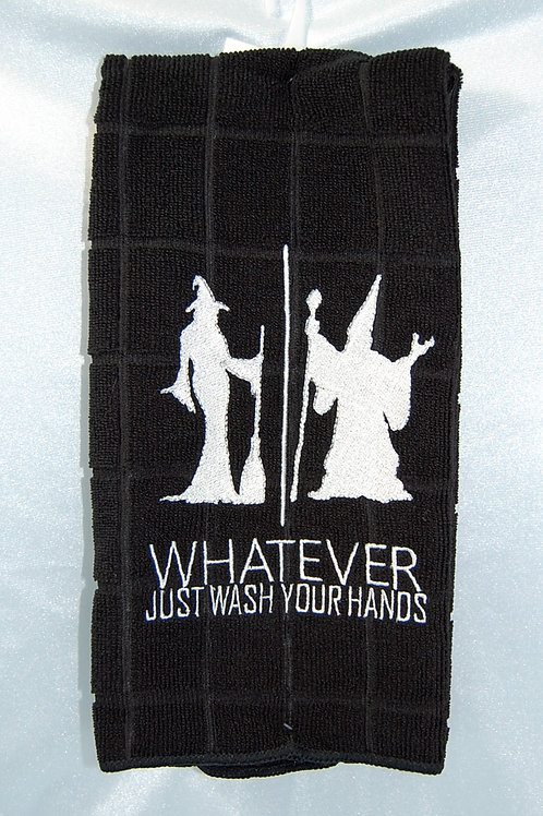 """Witch/Wizard """"Just Wash Your Hands"""" Towel - black/white"""