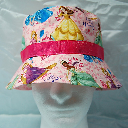 Bucket Hat made with licensed Princesses (pink) cotton print fabric