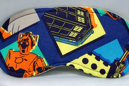 Sleep Mask made with licensed Dr. Who  print cotton fabric