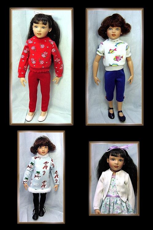 "P501-Sock Sweater/Pants/Leggings pattern for 16"" Kish dolls"