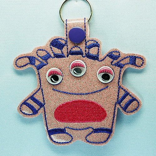 Monster googly eye snap tab key fob - pink