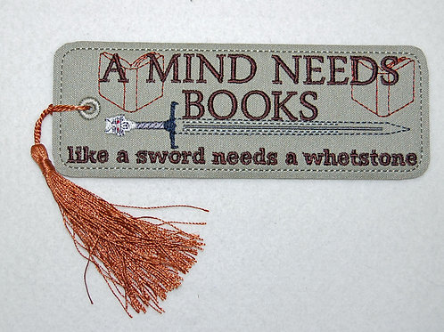 Mind Needs Book embroidered bookmark