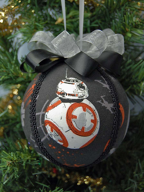 """Ornament made with licensed Star Wars/BB8 cotton fabric/styrofoam ball - 4"""""""