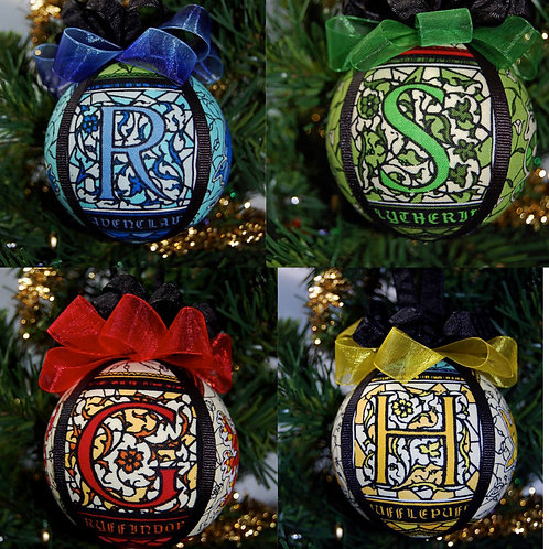 """Set of 4 Wizard House Ornaments - 3"""""""