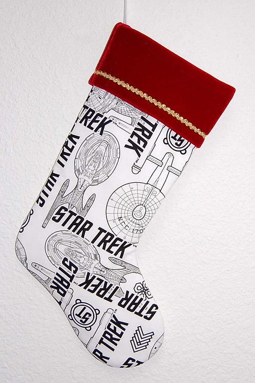 Stocking made with licensed Star Trek cotton fabric/red velvet cuff