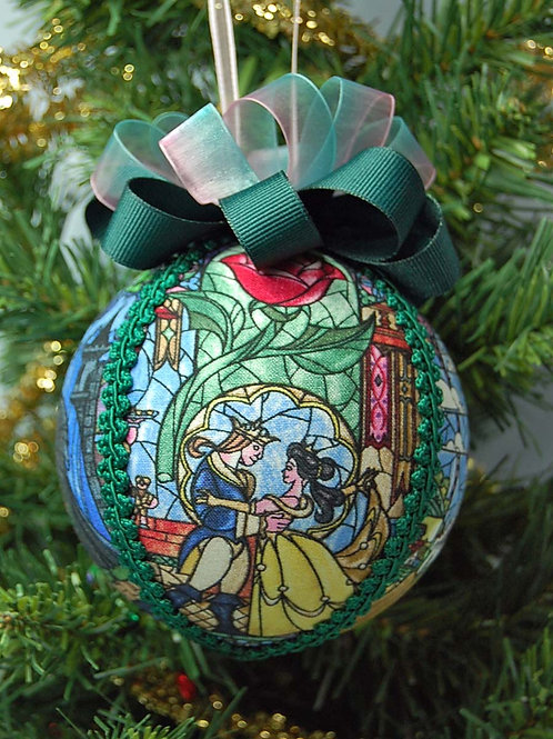 """Ornament made with licensed Beauty & The Beast fabric/styrofoam ball - 4"""""""