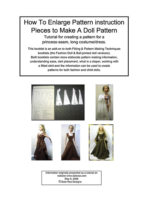 How to Enlarge Pattern Instructions Pieces to make a doll pattern-add/on booklet