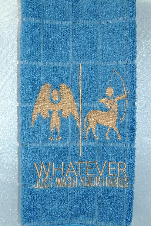 "Harpy/Centaur ""Just Wash Your Hands"" Towel - blue/tan"