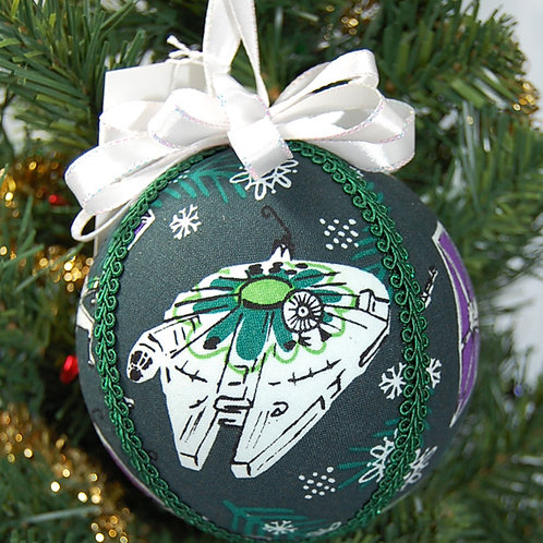 """Ornament made with licensed Star Wars Christmas fabric/styrofoam ball - 4"""""""